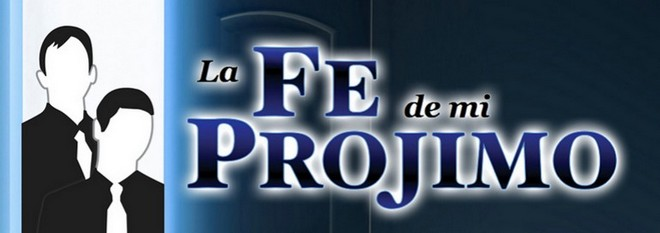 The logo for the website Fe Projimo showing outline of two young men